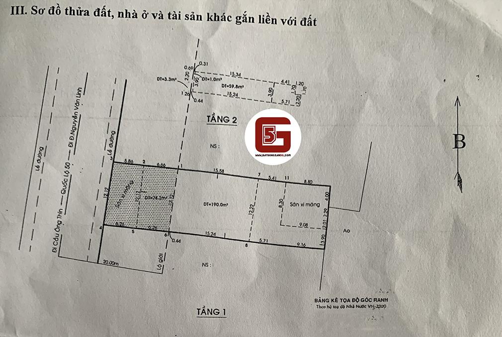 Bán nhà mặt tiền Quốc lộ 50, xã Phong Phú, Huyện Bình Chánh, Tp HCM