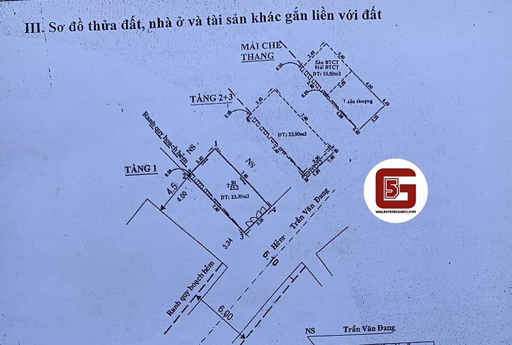Bán nhà hẻm 1 sẹt Trần Văn Đang, Phường 9, Quận 3